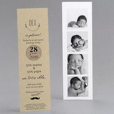 Zelfgemaakte geboortekaartjes, Geboortekaartje ardoise, vintage, photomaton, nieuw fpc