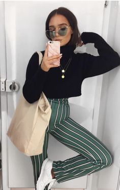 crop black turtleneck + stripe pants