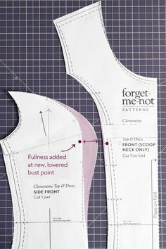 How to make a Full Bust Adjustment on a princess seam – Forget-me-not Patterns Dress Sewing Patterns, Clothing Patterns, Sewing Hacks, Sewing Tutorials, Pattern Drafting Tutorials, Full Bust Adjustment, Sewing Alterations, Tips & Tricks, Pattern Cutting