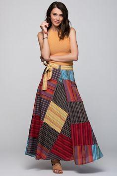 Mavi Çizgili Etek O&O-6Y132175 Skirt Fashion, Boho Fashion, Womens Fashion, Long Kurti With Skirt, Types Of Skirts, Refashion, High Waisted Skirt, Cool Outfits, Chiffon