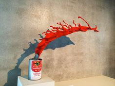 3D Printed Spilling Tomato Soup Can: http://3dprintboard.com/showthread.php?2430-3D-Printed-Spilling-Tomato-Soup-Can