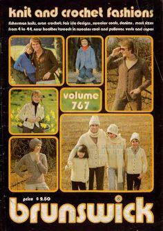 Brunswick 767 Knit Crochet Fashions Fisherman Aran Cape Hat Family Pattern 1976  #Brunswick #KnittingCrochetPatterns