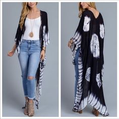 """SCARLET Black Tie Dye Kimono Tie Dye Long Kimono / Cover up. Length is 42"""" . One Size fits all. Pink Bee Accessories Scarves & Wraps"""