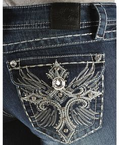 Grace in L.A. Metallic Cross & Wing Embroidered Pocket Jeans - Sheplers