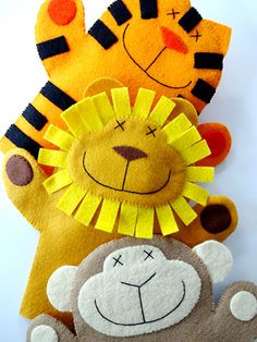 Sewing - Patterns for Children & Babies - Gift Patterns - Lion, Monkey & Tiger Felt Hand Puppets Glove Puppets, Felt Puppets, Felt Finger Puppets, Hand Puppets, Felt Diy, Felt Crafts, Kids Crafts, Easy Sewing Projects, Sewing Crafts