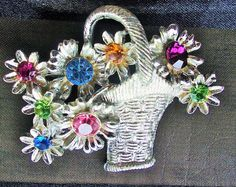 Signed Doddz Flower Basket Brooch, faceted rhinestones, multi pastel colors, woven silver tone