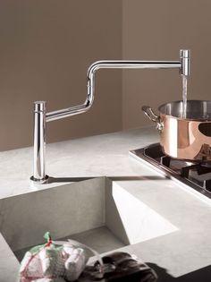 Dornbracht pot filler faucet and prep sink Kitchen Pulls, Kitchen Taps, Kitchen Fixtures, Pot Filler Faucet, Prep Sink, Interior Design Magazine, Modern Kitchen Design, Kitchen Accessories, House Design