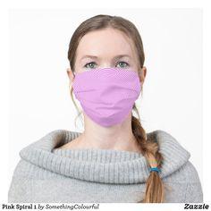 Pink Spiral 1 Cloth Face Mask Funky Design, Sea Foam, Chevron, Snug Fit, Sensitive Skin, Spiral, Teal, Aqua, Stencils