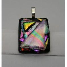 $12 Handmade Dichroic Art Glass Freeform Pendant by WarmglassbyMarion on Handmade Australia