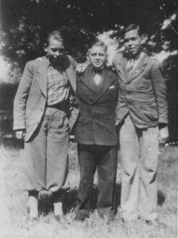 The Hubener group. Rudolf Wobbe on the left, Helmuth in the middle, and Karl-Heinz Schnibbe on the right.