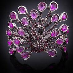Rhinestone Bangle Bracelets | Purple-Crystal-Rhinestone-Animal-Peacock-Cuff-Bracelets-Bangle