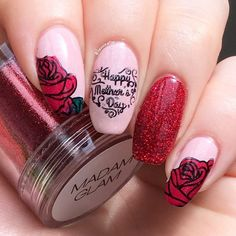 #Glittery Nails With #rose #manicure #nailart #mothersday #mothersdaynails