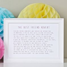 Best Friend Advert Poem Print from notonthehighstreet.com