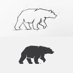 """blocky, strong full body bear logo with interesting contours and a bold shape. Angular design conforms to a """"techy"""" feel. I also like the use of negative space to imply eyes and define body movement. Ui Design, Icon Design, Logo Sketches, Illustration Sketches, Logo Animal, Logo Minimalista, Contour Drawing, Bear Tattoos, Logo Shapes"""