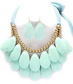 Bold Mint Green bubble necklace set by MalanasJewelry on Etsy, $18.00