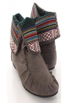 Grey Suede Moccasin Printed Design Fold Down Flap Booties