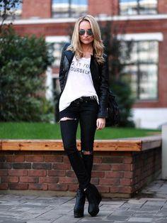 Get this look (jacket, shirt, jeans, bootie, sunglasses) http://kalei.do/WRBesBRxtzPZuu5e