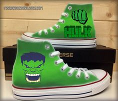 c9363cc54b5605 Hulk Custom Converse   Painted Shoes by FeslegenDesign on Etsy