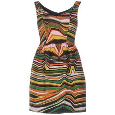 Pinko Black Short Dress ($174) ❤ liked on Polyvore featuring dresses, green, short green dress, tent dresses, swing dress, v neck dress and sleeveless swing dress