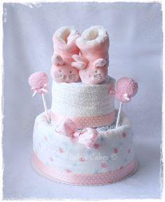 Gâteau de couches Chaussons peluche lapin rose