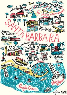 Santa Barbara Cityscape by Julia Gash Santa Monica, Santa Barbara Mission, Santa Barbara College, Santa Barbara Map, Santa Barbara California, Palm Springs, Los Padres National Forest, California Dreamin', Montecito California