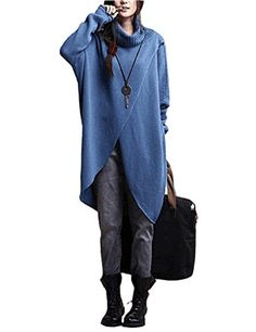 enjoysweety Womens Sweater Daily High Collar Long Shirt Knitwear Loose Casual Pullover Sweater coat Blue ** ** AMAZON BEST BUY ** #PulloverSweaters Sweater Coats, Pullover Sweaters, Long Sweaters, Sweaters For Women, High Collar, Knitwear, Cool Things To Buy, Store, Womens Fashion