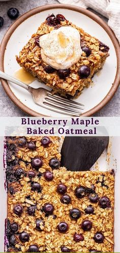 Blueberry Maple Baked Oatmeal is perfect for a weekend breakfast or if you meal prep. Soft, chewy and loaded with blueberries and cinnamon! Serve it topped with maple sweetened Greek yogurt or your favorite toppings! #oatmeal #bakedoatmeal #blueberries #breakfast #healthybreakfast #brunch #glutenfree #mealprep Vegan Baked Oatmeal, Baked Oatmeal Recipes, Best Oatmeal, Breakfast Toast, Sweet Breakfast, Breakfast Ideas, Real Food Recipes, Dessert Recipes, Brunch Recipes