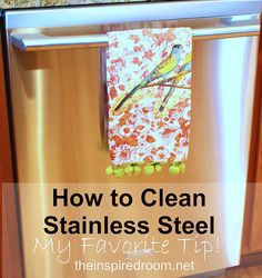 How to clean stainless steel appliances. The article actually says to use Windex BUT I looked at the comments below and someone suggested WD-40 which was the BEST thing EVER to clean stainless! I tried it and my fridge has hard water marks all down one side that I could NOT get off, I tried WD-40 on a wet rag and it came right off. My appliances look brand new!
