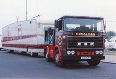ERF and showman's trailer in 1994 Towing Vehicle, Rv Motorhomes, Fun Fair, Vintage Trucks, House On Wheels, Classic Trucks, Caravans, Planes, Transportation