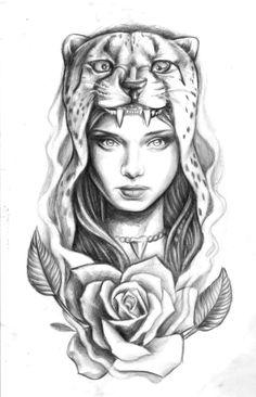 Caspian Delooze Tattoo design. 2014 Headdress Cheetah