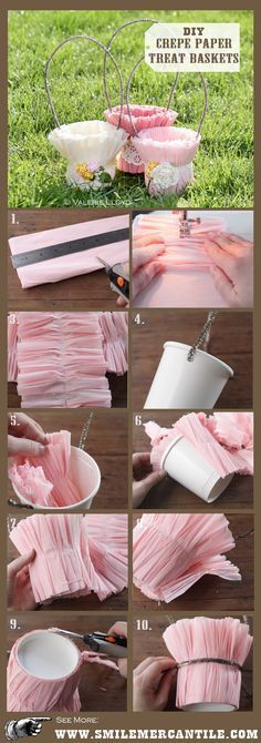 These crepe paper Easter baskets are lovely, and make sweet packages for gifts or favors. This simple DIY craft tutorial is great for adults & kids. Spring Crafts, Holiday Crafts, Creative Crafts, Diy Crafts, Papier Diy, Diy Ostern, Basket Decoration, Diy Decoration, Easter Baskets