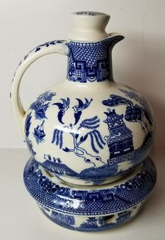 RARE VINTAGE MIJ(MADE IN JAPAN) BLUE WILLOW CARAFE WITH LID & WARMER - NICE! | eBay