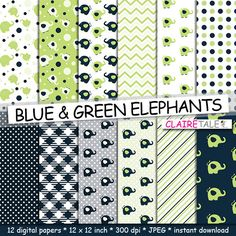 Elephant digital paper BLUE & GREEN ELEPHANTS with by ClaireTALE, $4.80