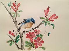 #inkpainting #ink #paintimg #flowers #robin #lyn #robinlyn #bird #bluebird