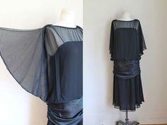vintage black cocktail dress - STARLET black chiffon 1920s style dress / XS-S by MsTips on Etsy https://www.etsy.com/listing/461684544/vintage-black-cocktail-dress-starlet