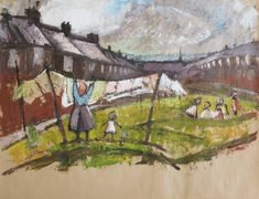 From Castlegate House Gallery, Norman Cornish, Washing day Oil on brown paper, 88 × 107 cm Norman Cornish, Easington Colliery, Paintings For Sale, Contemporary Art, Artsy, Photo And Video, Day, Gallery, Drawings