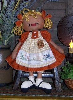 Primitive Raggedy Annie April Ann Doll Pattern PM582 $0.00