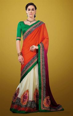 Picture of Delightful Off White and Red Color Alluring Saree