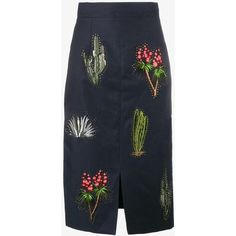 Stella McCartney cactus embroidered pencil skirt (455 CHF) ❤ liked on Polyvore featuring skirts, bottoms, blue, holiday skirts, mid length pencil skirt, colorful skirts, high-waist skirt and evening skirts