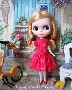 Blythe or Pullip Red Dress.  Fits Neo Blythe Licca and