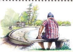 Spiro Philippidis Illustrateur / Carnettiste: Yverdon-les-Bains plage