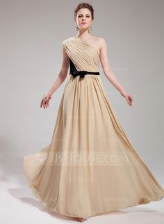 Evening Dresses - $136.99 - A-Line/Princess One-Shoulder Floor-Length Chiffon Charmeuse Evening Dress With Ruffle Sash Bow(s) (017019730) http://jjshouse.com/A-Line-Princess-One-Shoulder-Floor-Length-Chiffon-Charmeuse-Evening-Dress-With-Ruffle-Sash-Bow-S-017019730-g19730