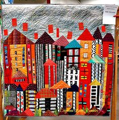 Art should be thought provoking, uplifting and inspiring and with that criteria in mind these quilts certainly qualify as art. House Quilt Patterns, House Quilt Block, Colorful Quilts, Small Quilts, Bright Quilts, Scrappy Quilts, Mini Quilts, Quilting Projects, Quilting Designs