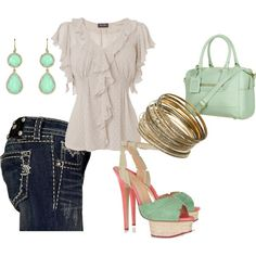 My Favorite outfit- Miss Me jeans and a feminine ruffle top