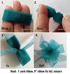 Easy ribbon bow for gifts, crafts, hairbows.  #flowers