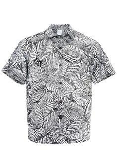 4ef0dadf569 Island Leaf White amp Black Poly Cotton Men s Hawaiian Shirt Hawaiian  Dresses