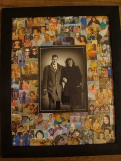 """""""It Started with Two"""".. Make this for grandparents' anniversary! Or #mothersday Scan old photos with iPhone or iPad + Pic Scanner app (Click to download). Frame as shown, surrounding the large photo with a collage of tiny ones.:"""