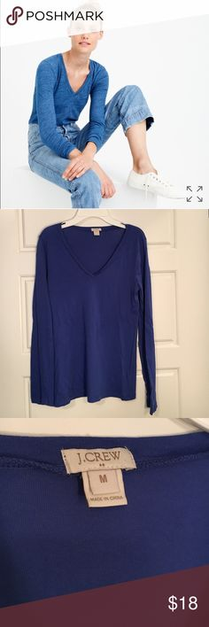 J. Crew Blue Vintage Cotton V-Neck Long Sleeve Tee J. Crew Blue Vintage Cotton V-Neck Long Sleeve Tee. Sz:M  Selling for my sister in law... So soft and lightweight (100% cotton) machine wash. See pic for more details. Picture is a lighter blue indigo than one for sale. Also have in Dark Gray. J. Crew Tops Tees - Long Sleeve