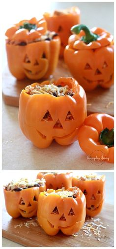 Halloween Party Recipes - Jack O Lantern Shredded Chicken Black Bean and Rice Stuffed Peppers Recipe via Everyday Jenny