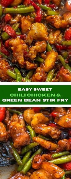 The best ever chicken green bean stir fry aka sweet chili chicken is absolutely mouth-watering. Easy Chicken Recipes, Turkey Recipes, Asian Recipes, Healthy Recipes, Oriental Recipes, Sweet Chili Chicken, Chicken Green Beans, Asian Cooking, Easy Cooking